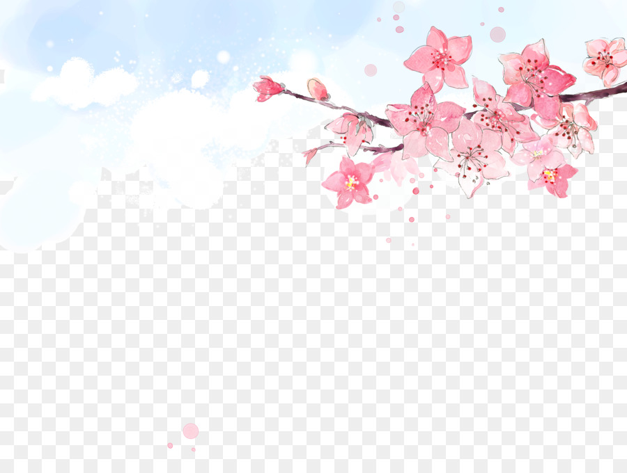 Peach Flower Cherry Blossom Creative Watercolor Blooming
