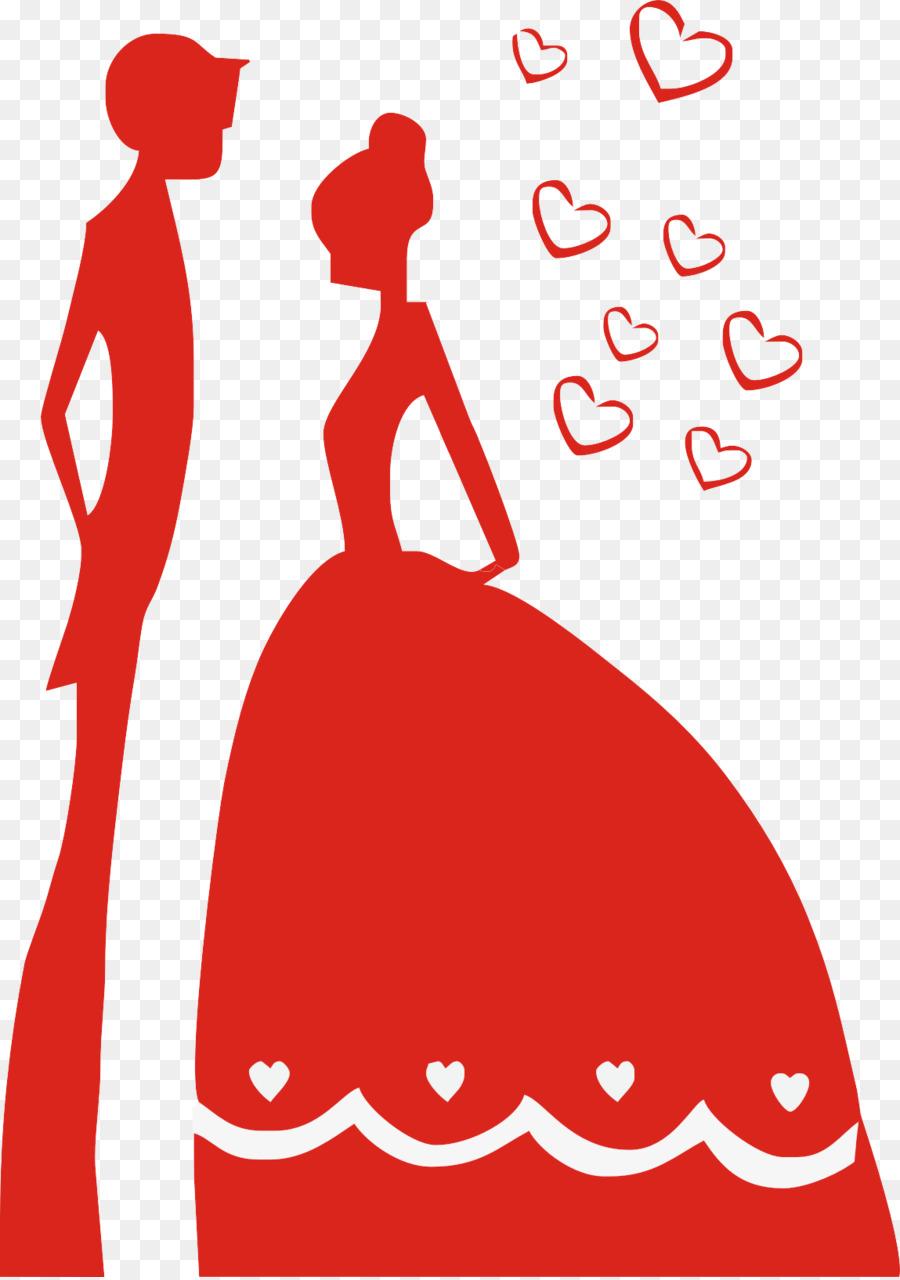 Wedding invitation Silhouette Cartoon Clip art - Couple Silhouette ...