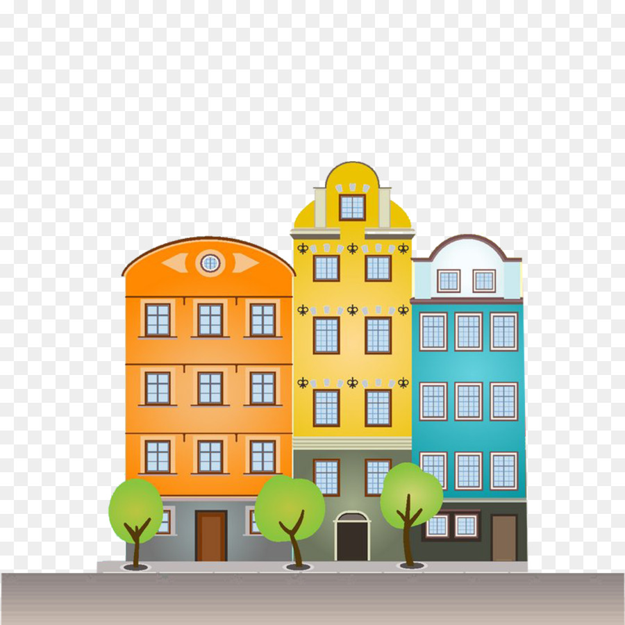 Flat Apartment Definition: The Architecture Of The City Building Cartoon Illustration