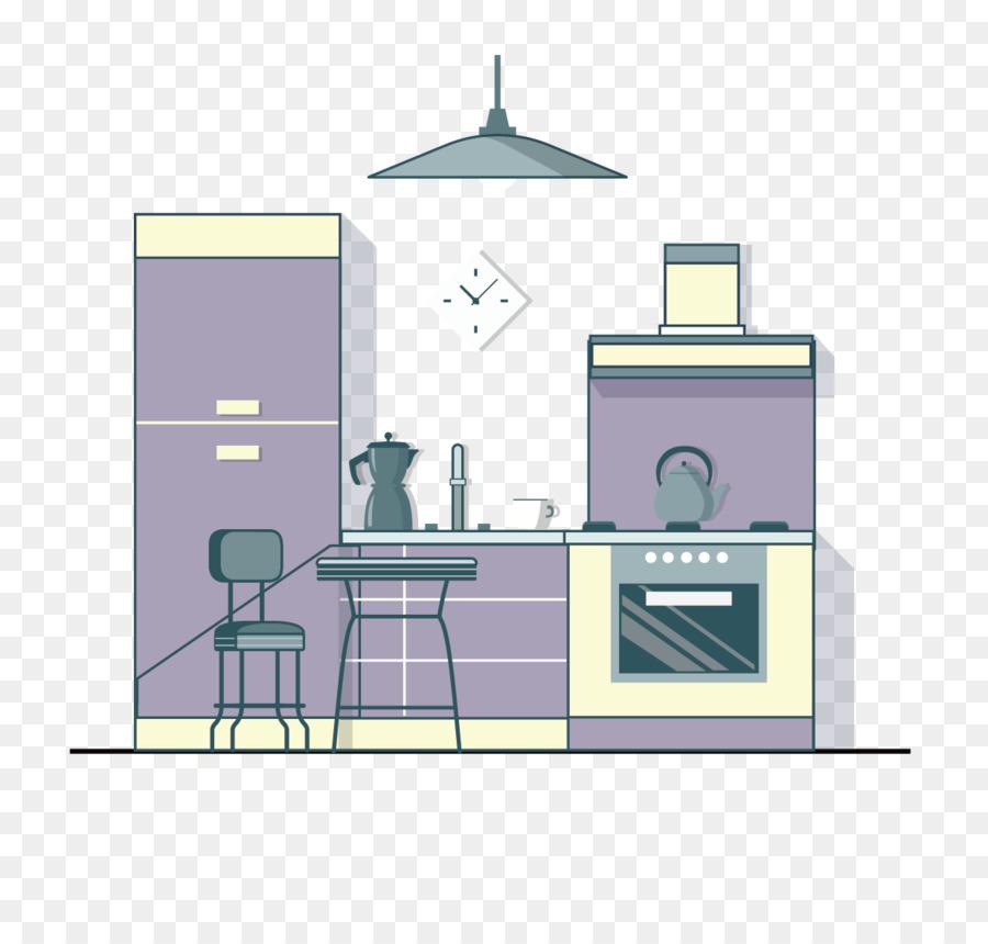 Kühlschrank-Küche-Wohnzimmer-Schlafzimmer-Abzugshaube - Lila cartoon ...