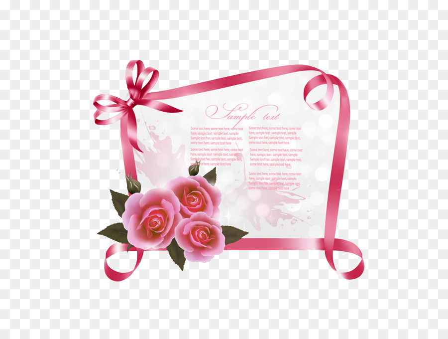 Wedding Invitation Greeting Card Birthday Ribbon Rose Bulletin
