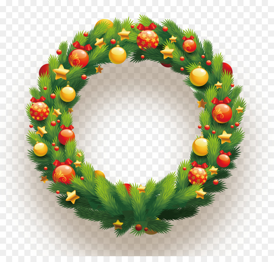 candy cane christmas wreath clip art ball decorated with hanging garlands - Hanging Garland Christmas Decorations