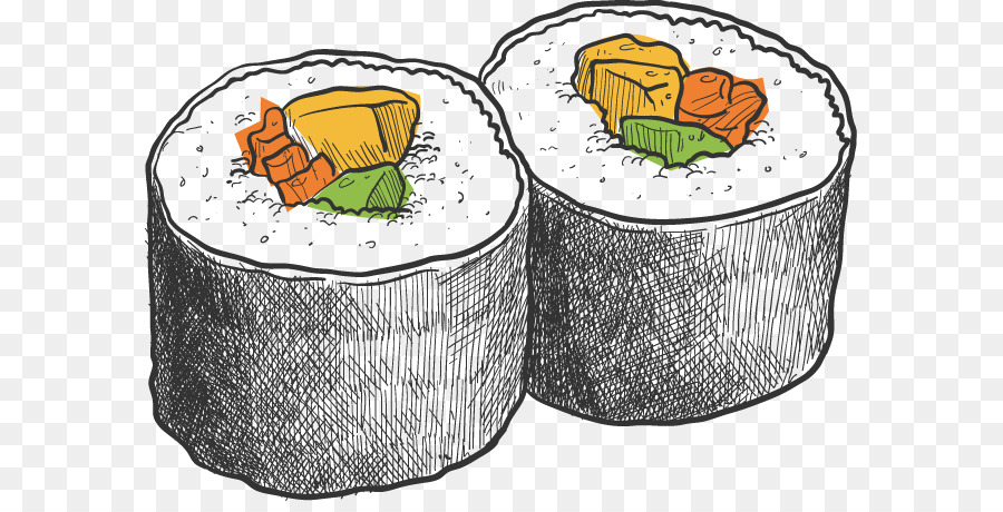 Sushi Cocina Japonesa Makizushi Dibujo - Vector pintados a Mano de ...