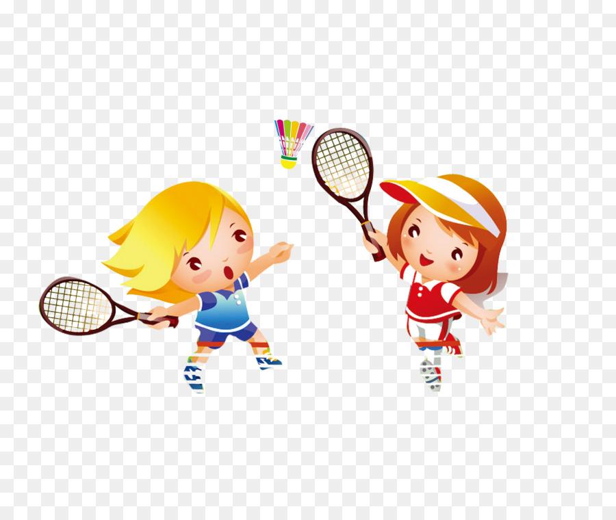 Badminton Tennis Cartoon Student Child Playing Badminton Png