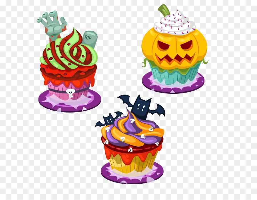 Cupcake De Dulce De Frutas De Dibujos Animados De Halloween ...