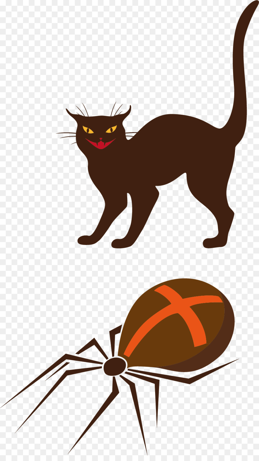 whiskers black cat halloween clip art - cartoon cat and spider