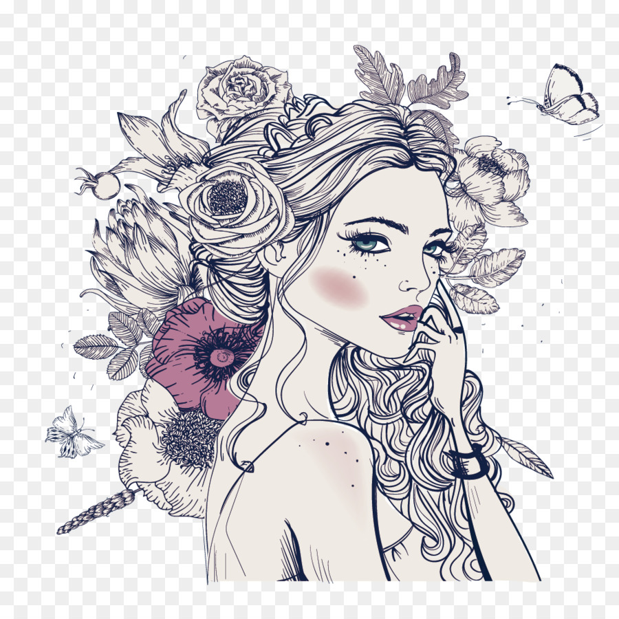 Coloring Book Woman Adult Drawing