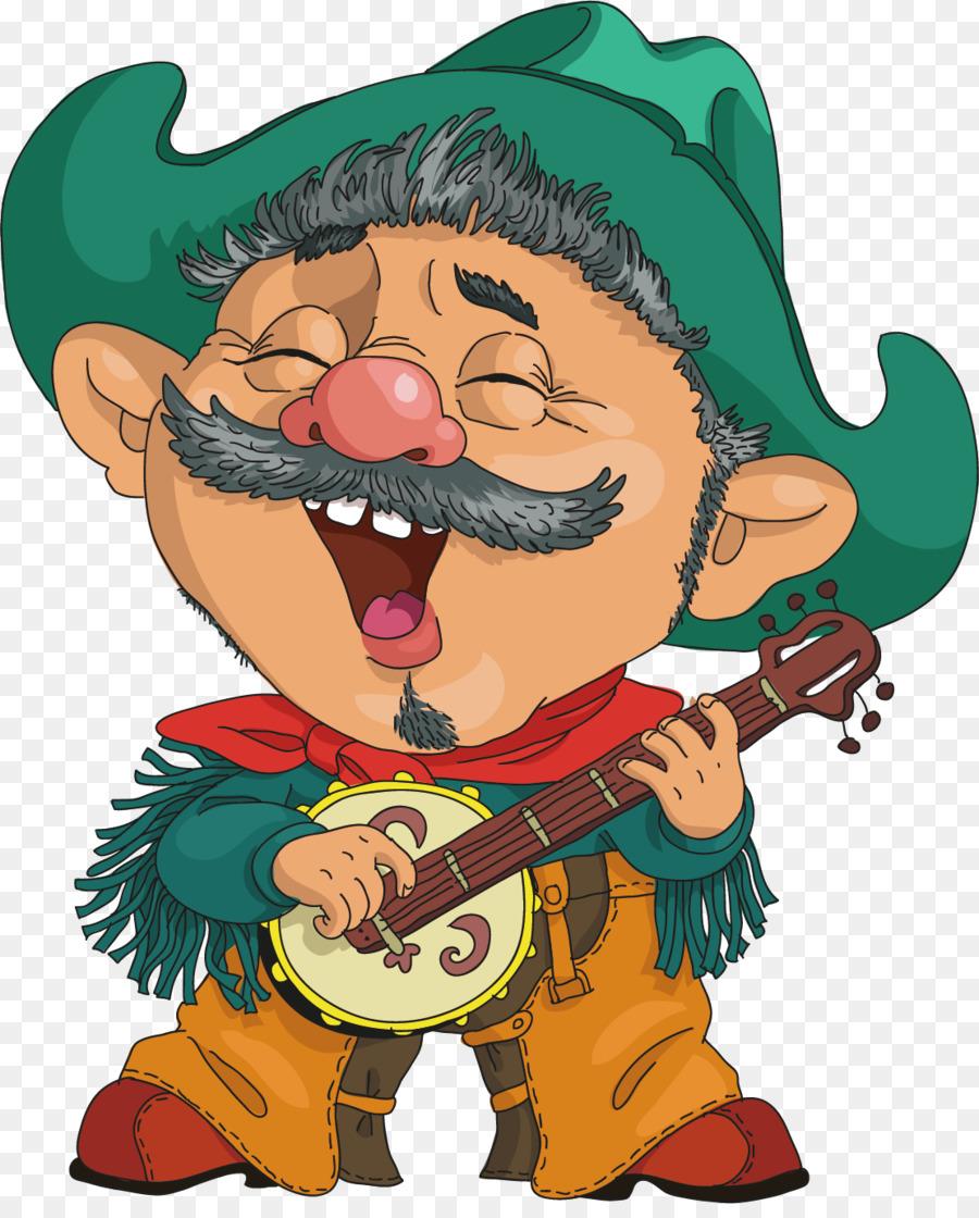 cartoon character cowboy illustration - old man playing guitar png