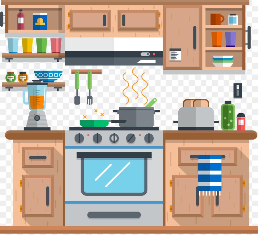 Cocina de descarga de dibujos animados vector dibujado a for Disenador de cocinas gratis