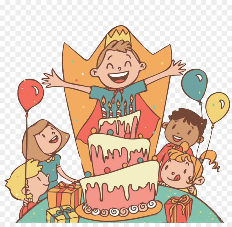 Birthday Cake Childrens Party Cartoon Birthday Party Png Download