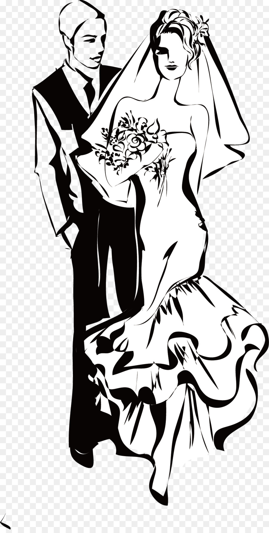 Wedding Invitation Black And White Woman Clip Art Black And White