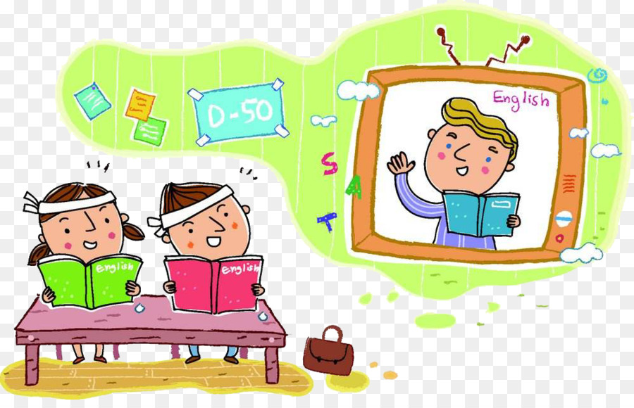 student learning child cartoon watch tv to learn english png