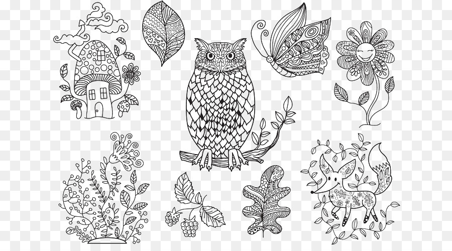 The Enchanted Forest Coloring Book Euclidean Vector Illustration