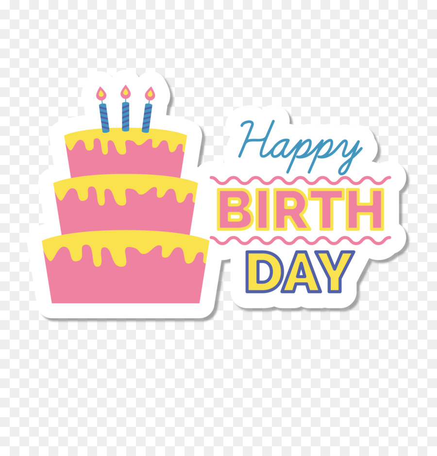 Paper birthday cake happy birthday to you sticker color white happy birthday vector material wordart