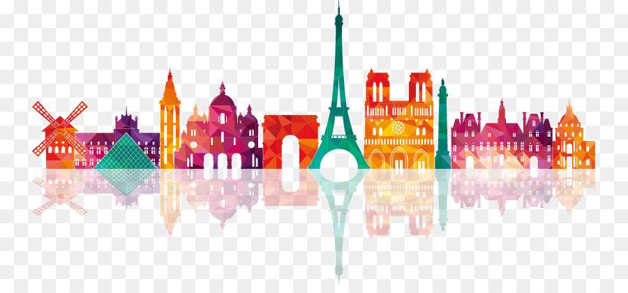 Paris Drawing Skyline Illustration Uk Colorful City