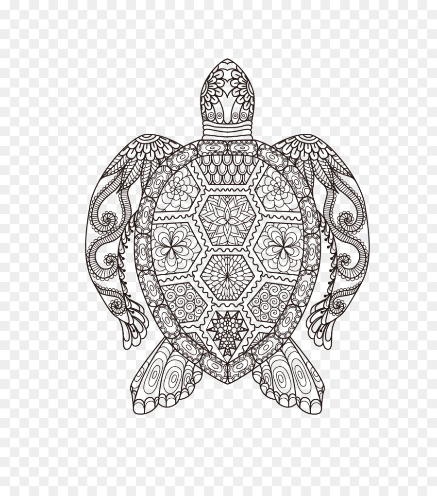 Coloring book Adult Doodle Drawing Child - Vector turtle png ...