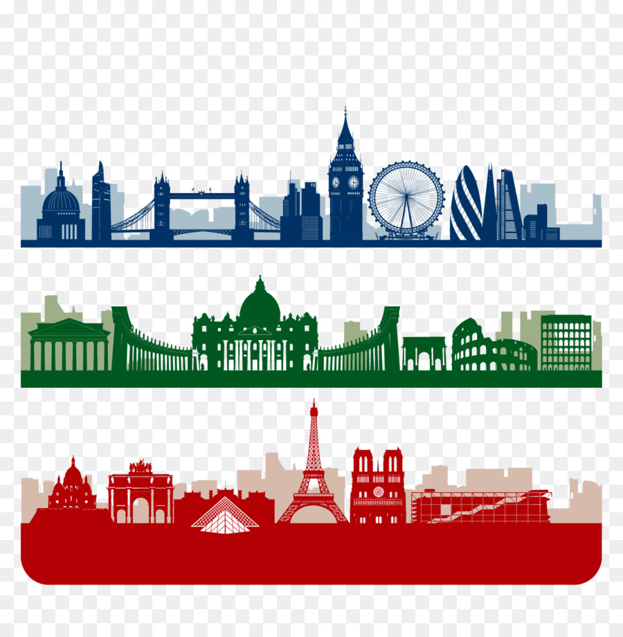 Paris London Skyline Silhouette