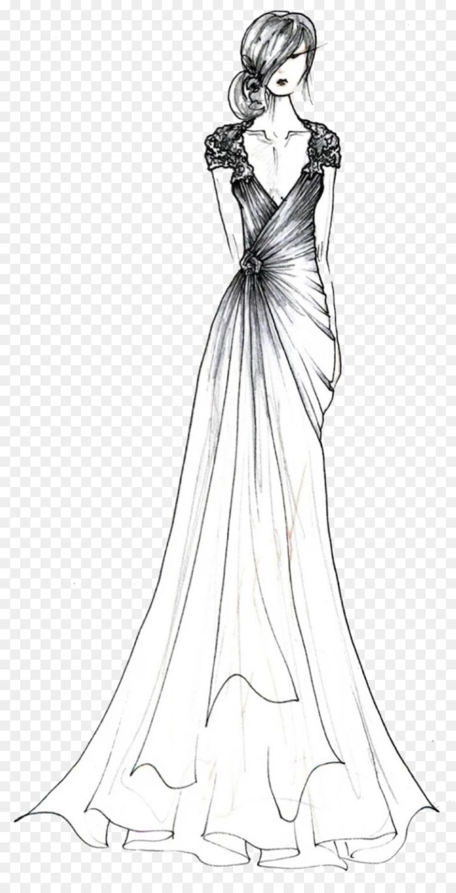 Contemporary Western wedding dress Wedding photography Sketch ...