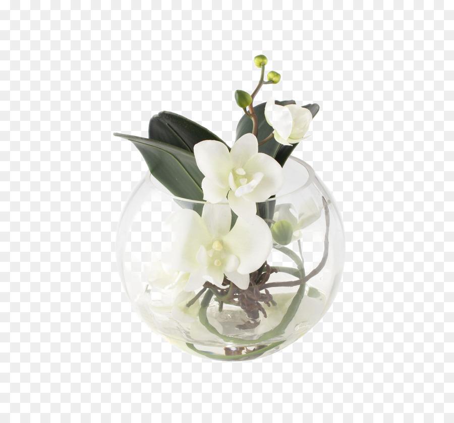 Floral Design Vase Flower Bouquet Glass White Soft Mounted