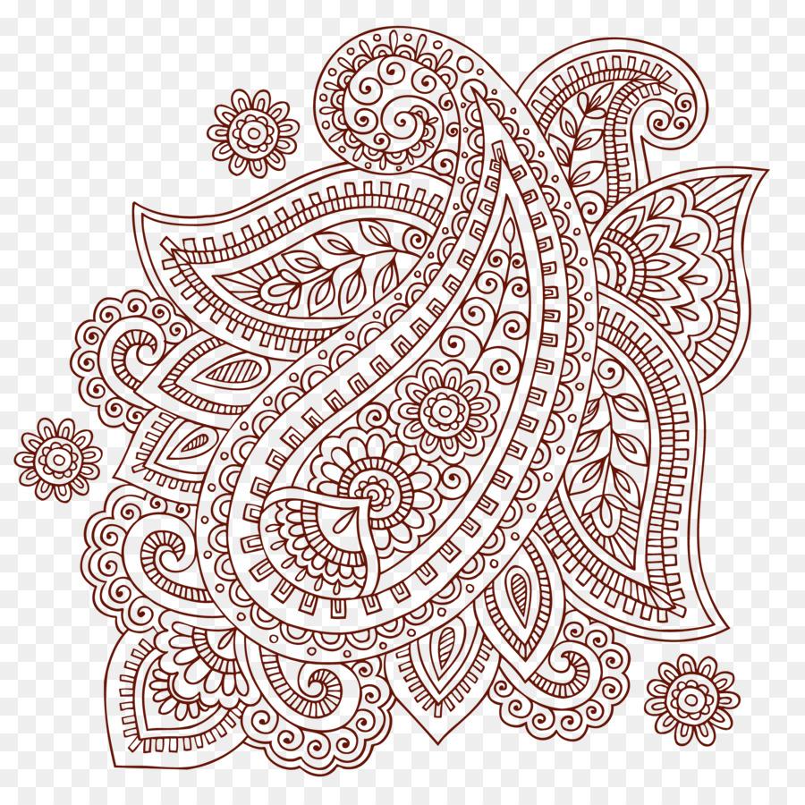 Paisley Mehndi Doodle Clip Art Sederhana Ham Pola Shading Pola