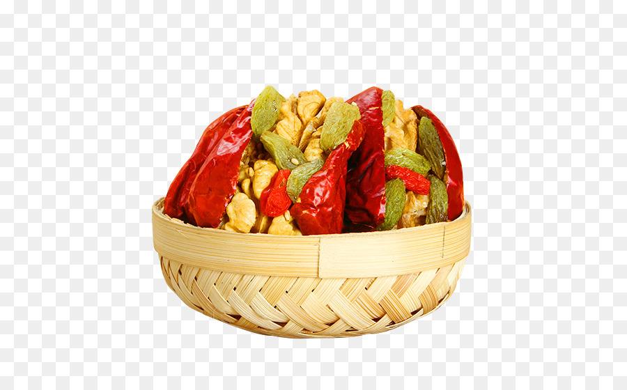 Vegetarian Cuisine Junk Food Jujube Walnut Bamboo Basket Of
