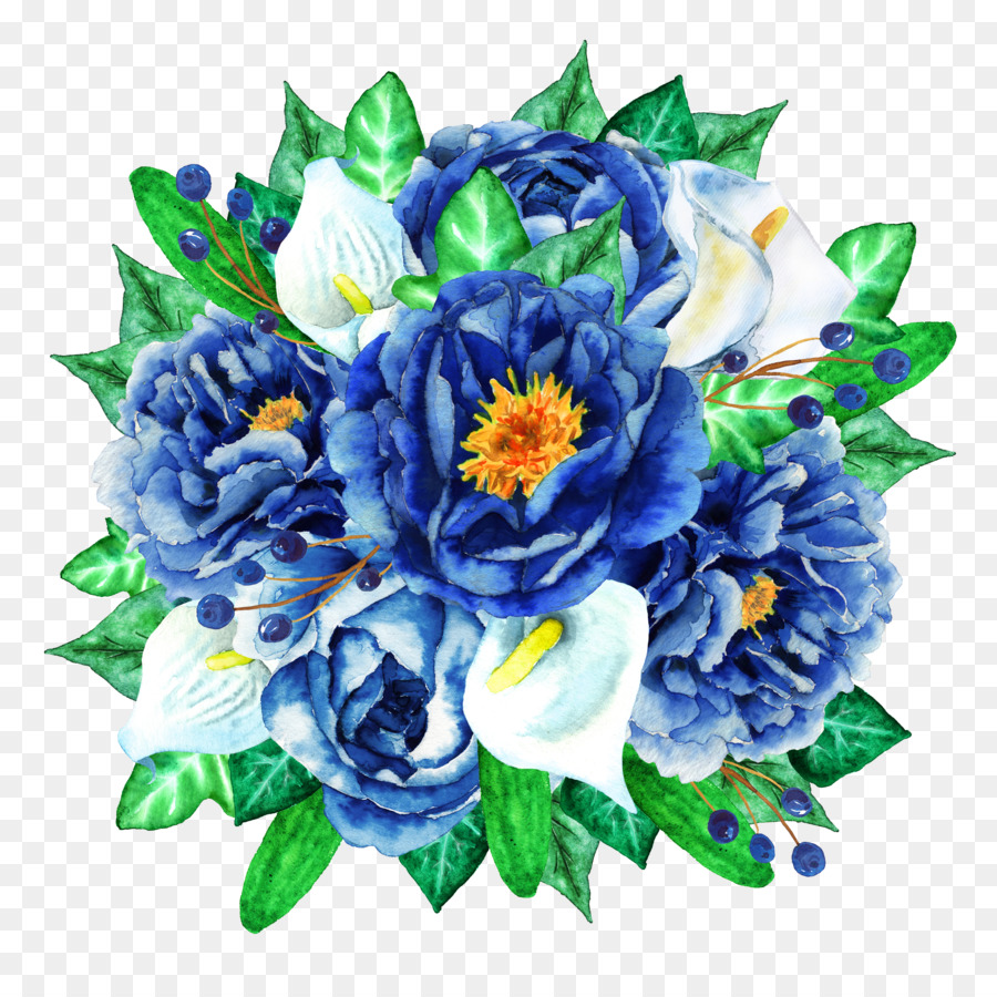 Watercolour Flowers Flower bouquet Clip art - Blue Flower Bouquet ...