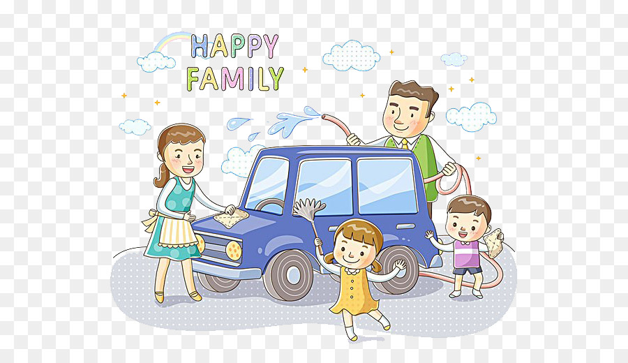 Car Wash Cartoon Illustration Family Car Wash Together Png
