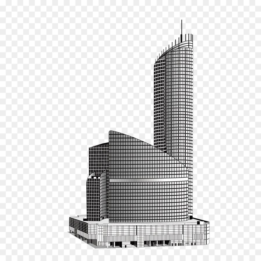 Gedung Pencakar Langit Hitam Dan Putih Bangunan High Rise Building