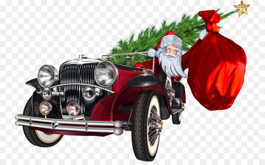 Classic Car Vintage Car Clip Art Cartoon Santa Claus Png Download