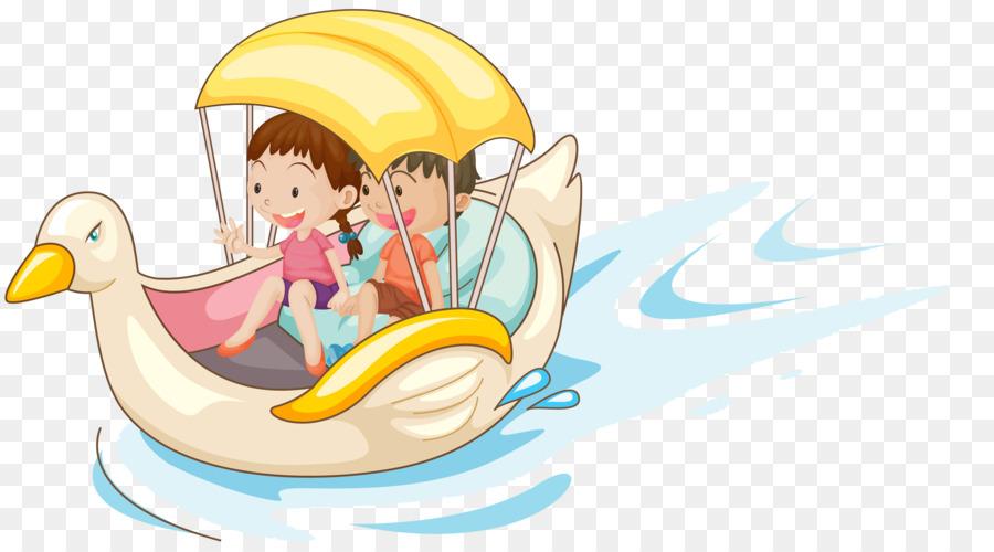 Royalty ücretsiz çizim ördek Bir Tekne üzerinde Oturan Bir çocuk
