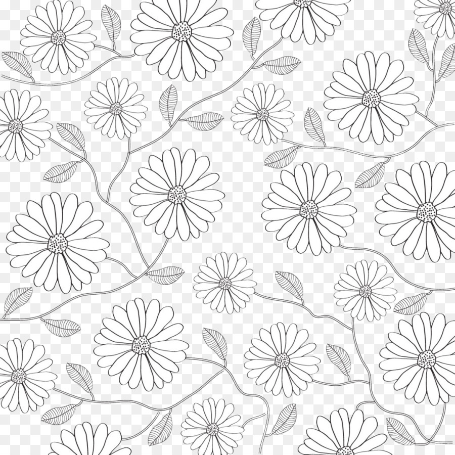 Black And White Flower Petal Pattern Black And White Lines Flowers