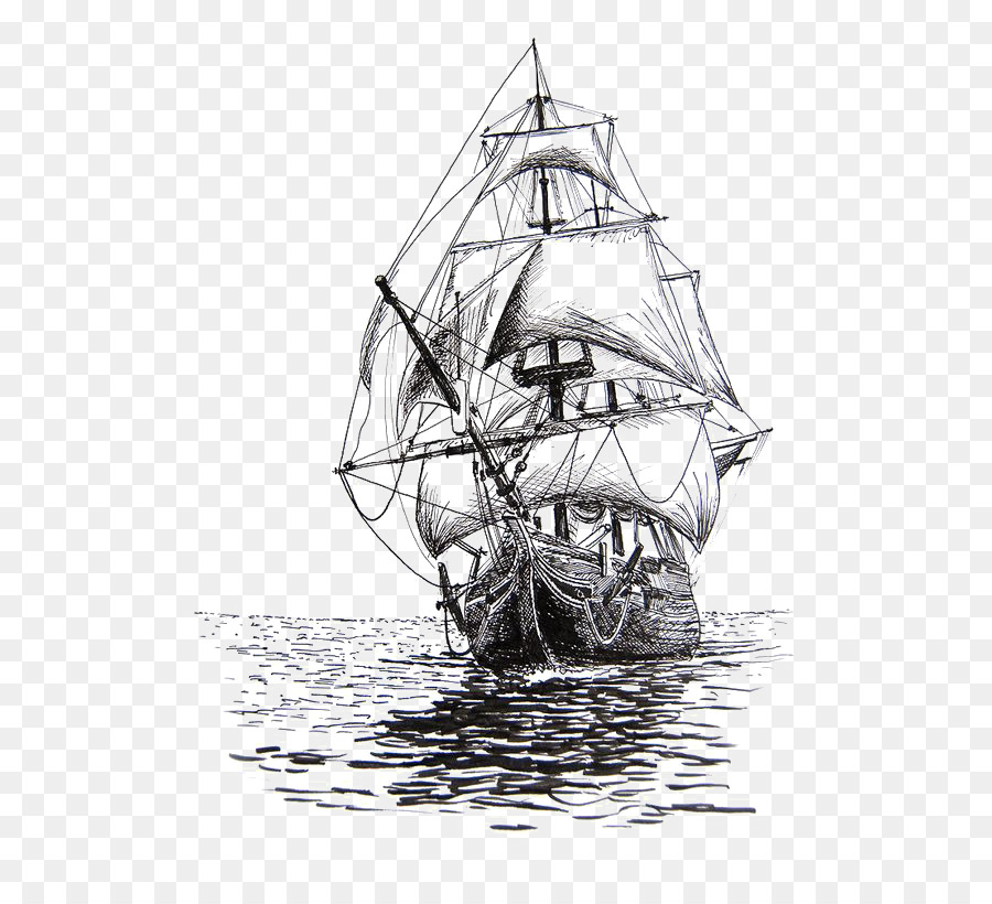 Cartoon Sailing Ship Design Shading Curtain Blackout: Drawing Sailing Ship Pencil Sketch