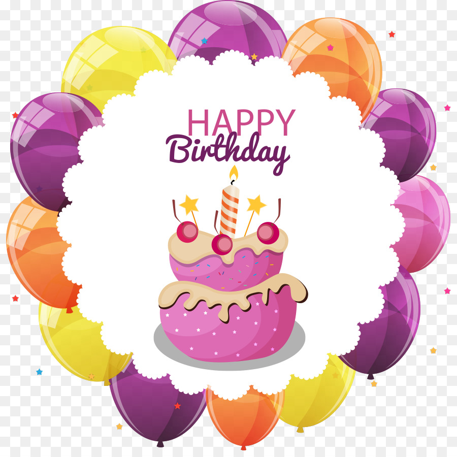 Birthday cake Cupcake - Vector cake and balloons png download - 876 ...