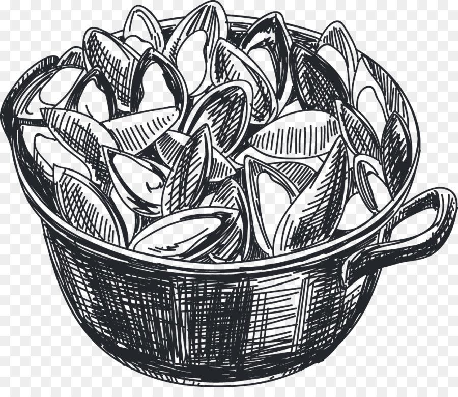 Muschel Italienische Kuche Zeichnen Meeresfruchte Symbol Hand