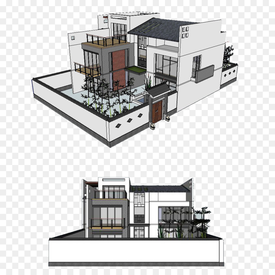 Architecture SketchUp 3D modeling Facade - Hand-painted houses png ...