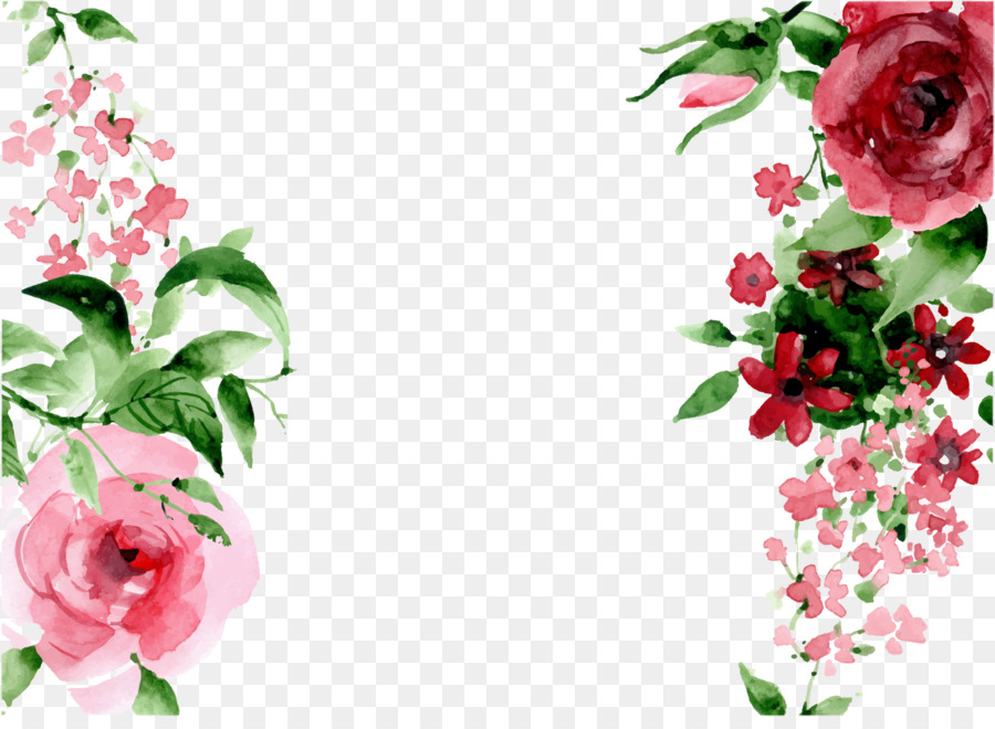 pixel watercolor painting hand drawn flowers png