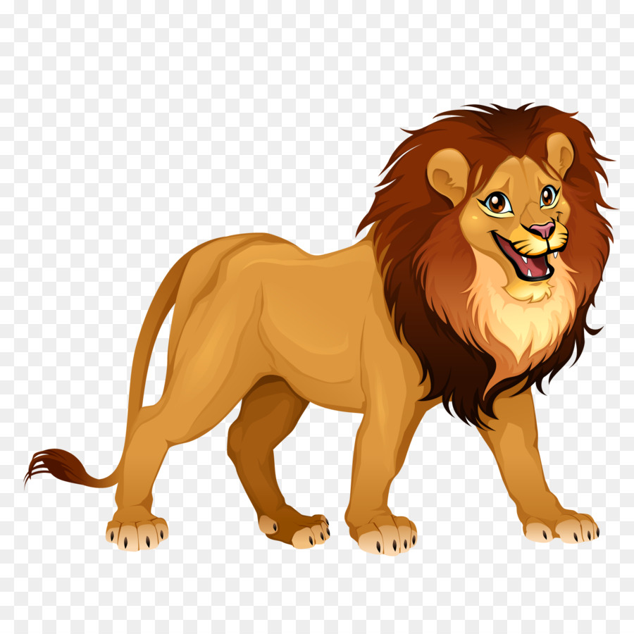 Lion Tiger Cartoon Illustration Vector Male Lion 1600