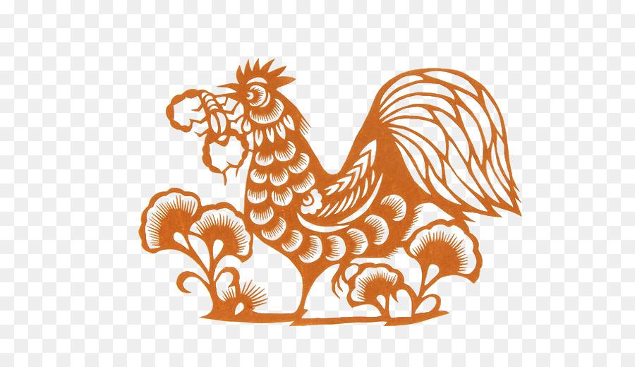 Papercutting Ayam Jago Tahun Baru Cina Orange Angin Cina Potong