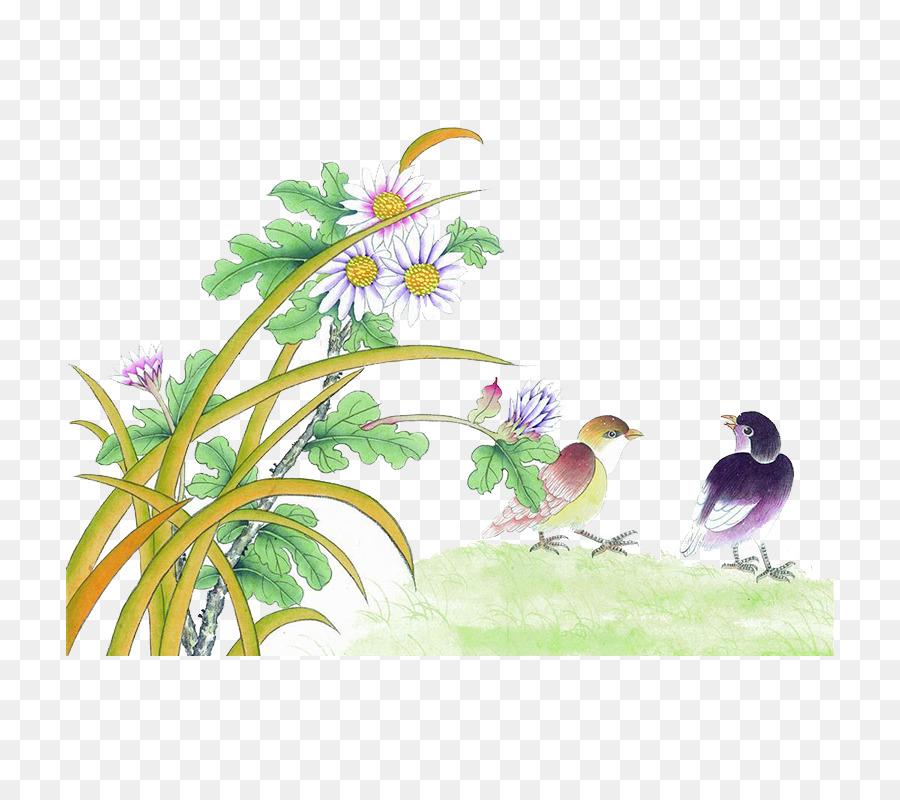 u56fdu753bu5c71u6c34 u82b1u9ce5u756bu6280u6cd5 de Aves y flores ...