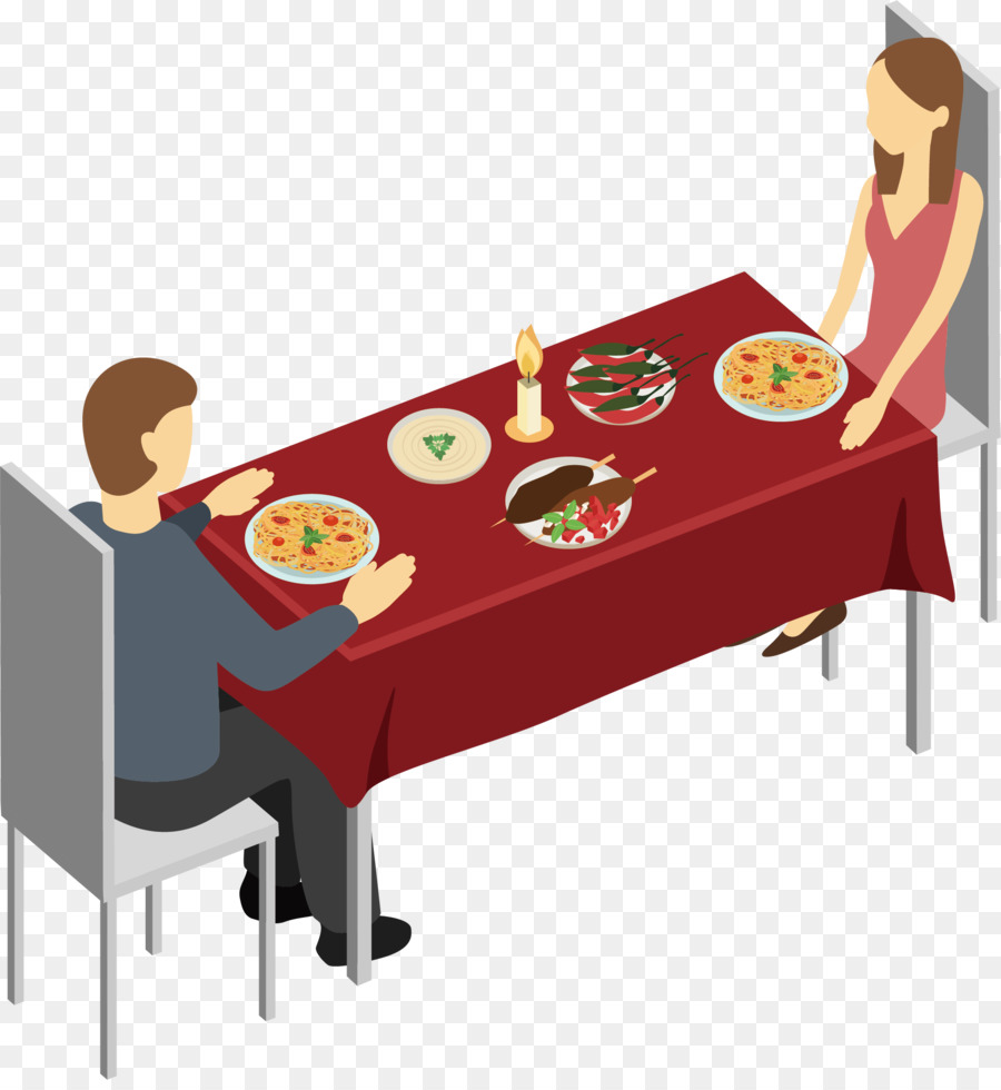 Restaurant Download Vector Meal Men And Women Png Download - Restaurant table accessories