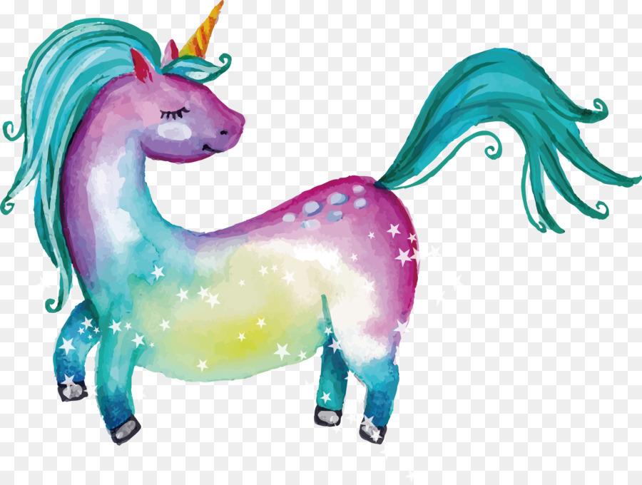 Unicornio de Color de cuento de Hadas - Sueño acuarela pintados a ...