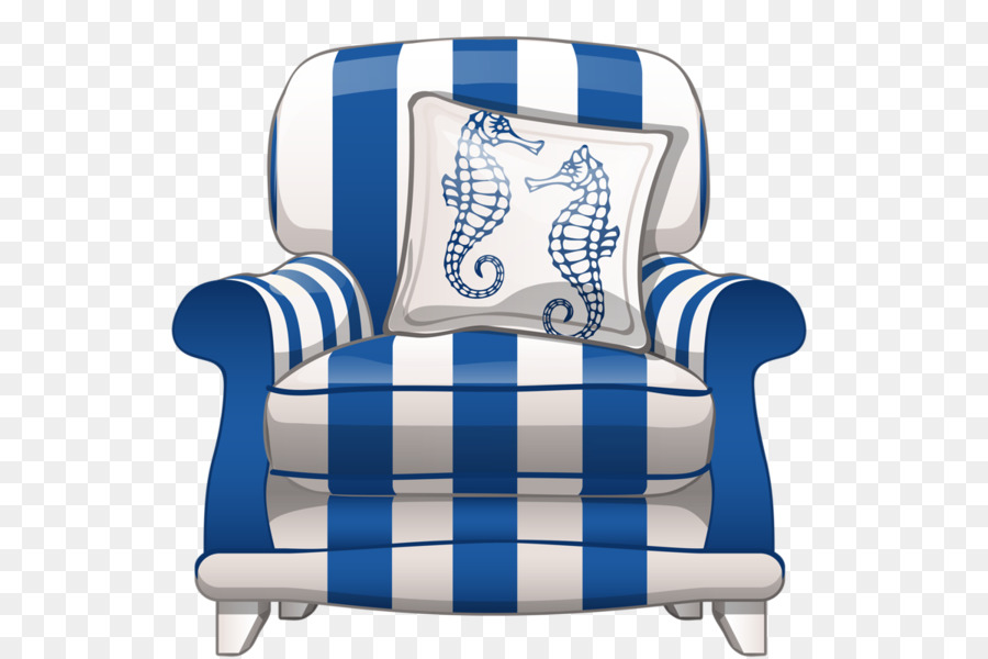 Cartoon blue and white striped sofa seat png download - 600*599 ...