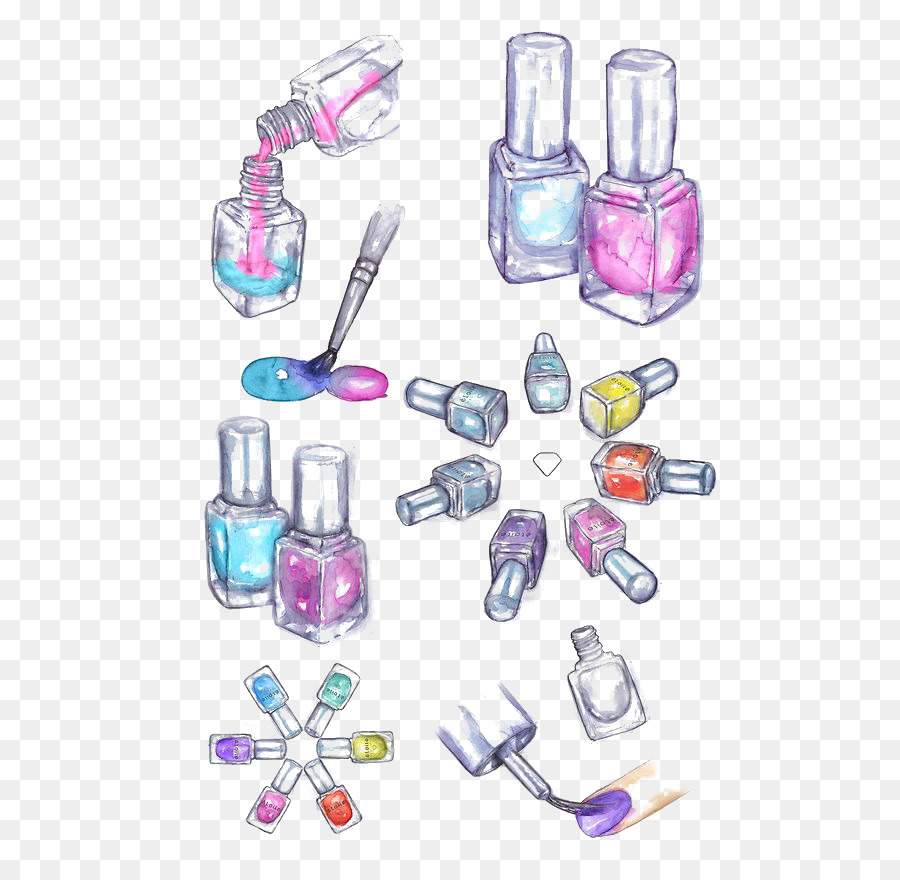Nail polish Drawing Cosmetics Watercolor painting - Drawing Nail ...