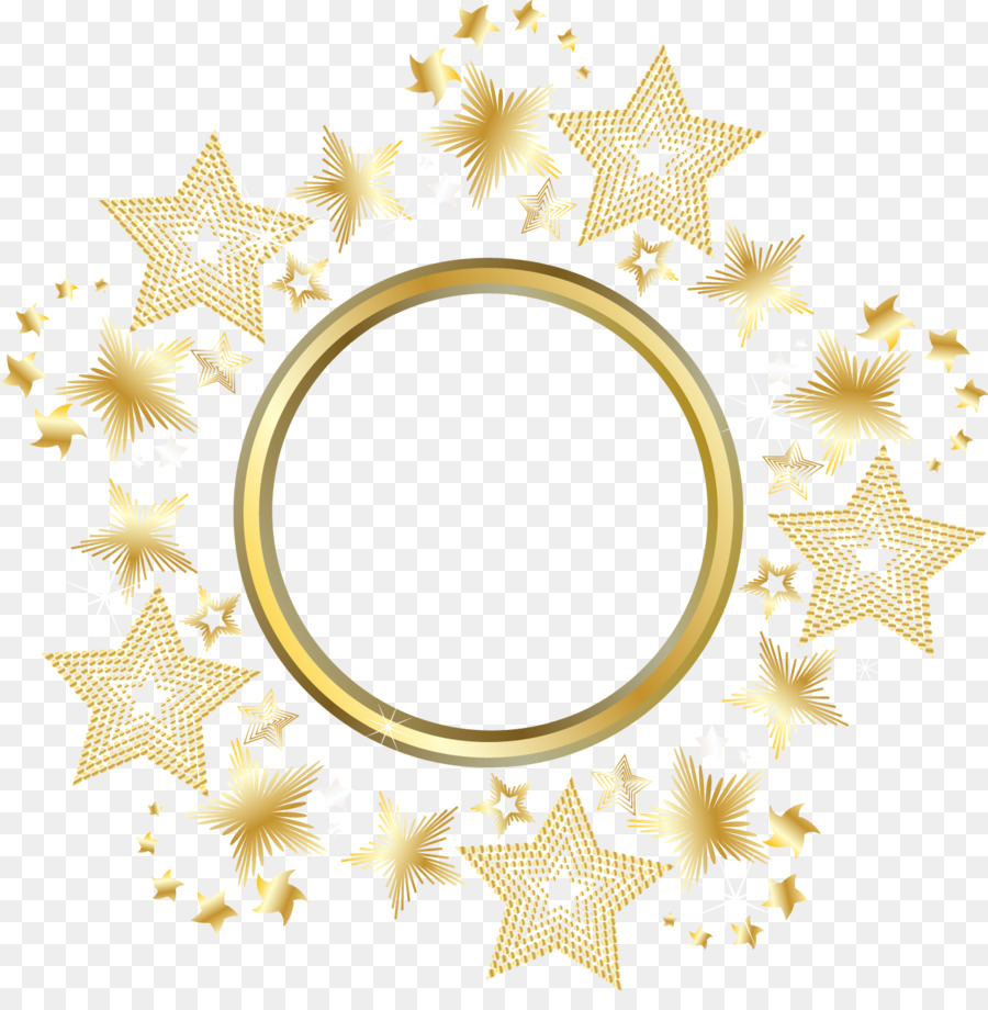 Circle Gold Star - Decorative gold star round frame png download ...