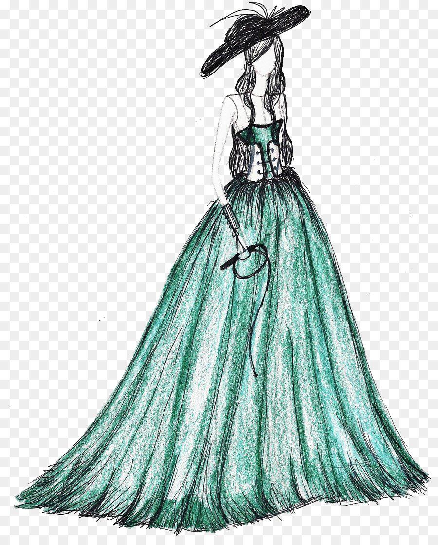 Drawing Formal wear Fashion Wedding dress Illustration - Hand ...