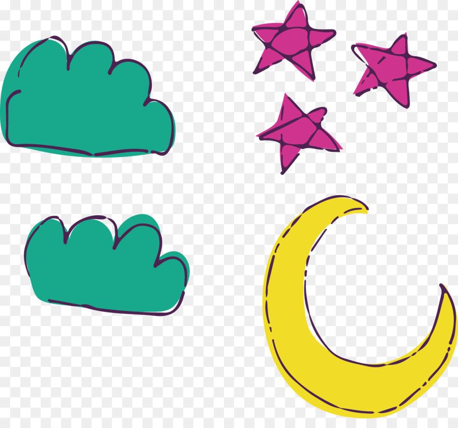 Moon And Stars Drawing Cartoon Watercolor Moon Stars Png Download