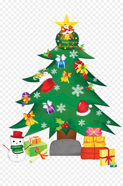 santa claus christmas tree gift wall decal christmas tree hd free matting material - Christmas Tree Images Free