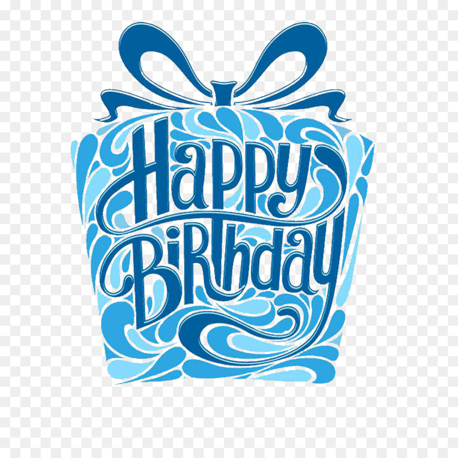 Birthday Cake Greeting Card Blue Text PNG