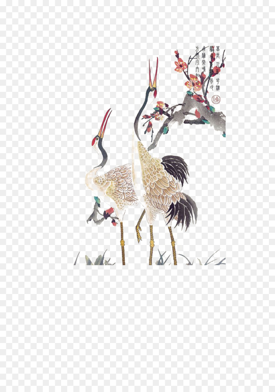 Red Crowned Crane Paper Tattoo Hand Painted Ostrich Png Download