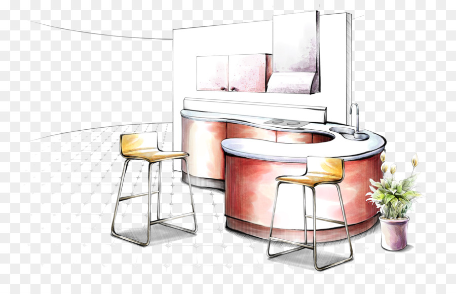 Interior Design Services Drawing Sketch - Hand-painted home kitchen ...